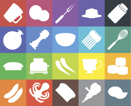 Set Of 20 icons such as Lime, Grinder, Bread, Octopus, Cucumber, Pickles, Sushi, Pepper, Pie, Asparagus, Mug, Whisk, Fork, web UI editable icon pack, pixel perfect Stock Illustratie