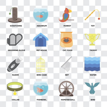 Set Of 16 icons such as Bird, Hamster ball, Fishbowl, Collar, Water, Scratching, Grooming glove, Razor, Cat food on transparent background, pixel perfect Stock Vector - 111925721
