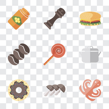Set Of 9 simple transparency icons such as Octopus, Mushrooms, Doughnut, Pot, Jawbreaker, Coffee, Hamburguer, Pepper, Honey, can be used for mobile, pixel perfect vector icon pack on transparent Ilustração