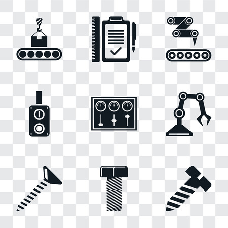 Set Of 9 simple transparency icons such as Bolt, Screw, Industrial robot, Control panel, Switch, Conveyor, Plan, can be used for mobile, pixel perfect vector icon pack on transparent