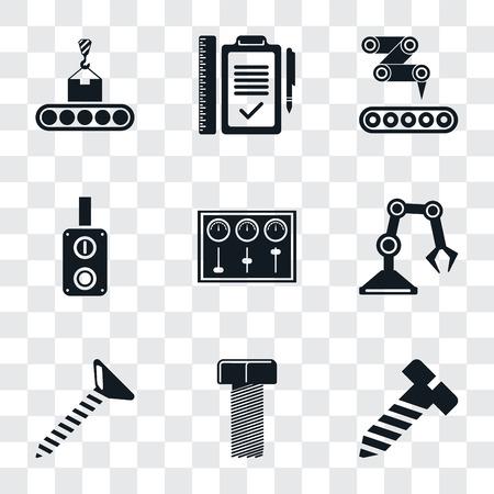 Set van 9 eenvoudige transparantie iconen zoals bout, schroef, industriële robot, bedieningspaneel, schakelaar, transportband, plan, kan worden gebruikt voor mobiel, pixel perfect vector icon pack op transparant