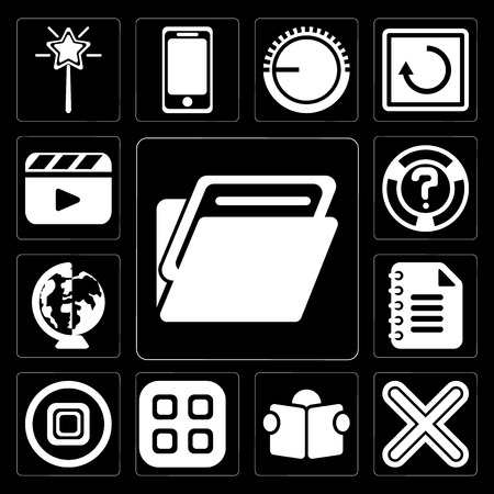 Set Of 13 simple editable icons such as Folder, Multiply, Reading, Menu, Stop, Notepad, Worldwide, Help, Video player on black background Vector Illustration