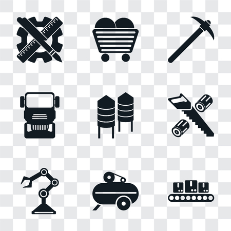 Set Of 9 simple transparency icons such as Conveyor, Compressor, Robot arm, Wood cutting, Silo, Truck, Pick, Coal, Planning, can be used for mobile, pixel perfect vector icon pack on transparent Ilustração