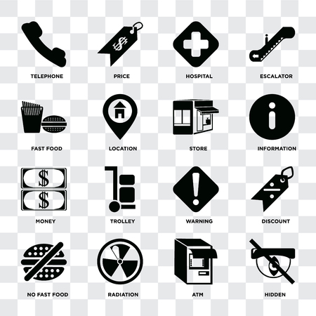 Set Of 16 icons such as Hidden, Atm, Radiation, No fast food, Discount, Telephone, Fast Money, Store on transparent background, pixel perfect Foto de archivo - 111925728