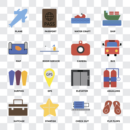 Set Of 16 icons such as Flip flops, Check out, Starfish, Suitcase, Aqualung, Plane, Map, Surfing, Camera on transparent background, pixel perfect Illustration
