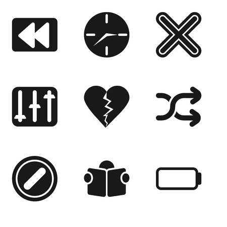 Set Of 9 simple editable icons such as Battery, Reading, Forbidden, Shuffle, Dislike, Controls, Multiply, Clock, Rewind, can be used for mobile, pixel perfect vector icon pack Illustration