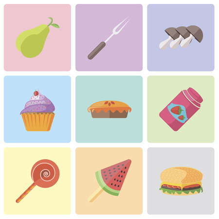 Set Of 9 simple editable icons such as Hamburguer, Ice cream, Jawbreaker, Jam, Pie, Cupcake, Mushrooms, Fork, Pear, can be used for mobile, pixel perfect vector icon pack