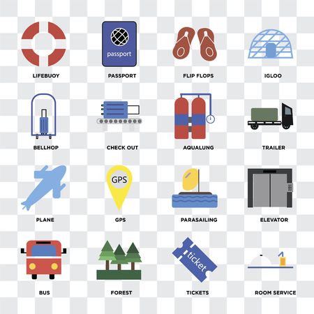 Set Of 16 icons such as Room service, Tickets, Forest, Bus, Elevator, Lifebuoy, Bellhop, Plane, Aqualung on transparent background, pixel perfect Иллюстрация
