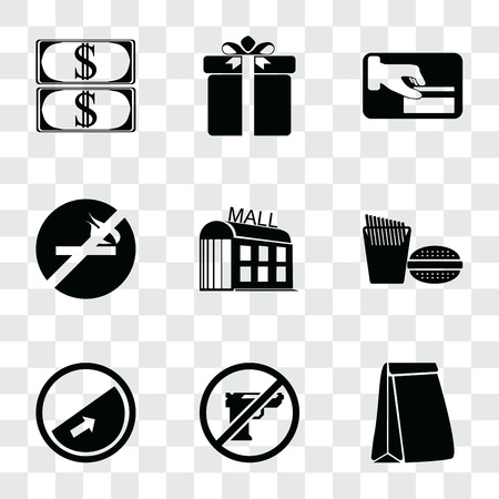 Set Of 9 simple transparency icons such as Paper bag, Gun, Slope, Fast food, Mall, No smoking, Card payment, Gift, Money, can be used for mobile, pixel perfect vector icon pack on transparent Banco de Imagens - 111925739