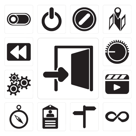 Set Of 13 simple editable icons such as Exit, Infinity, , Id card, Compass, Video player, Settings, Volume control, Rewind, web ui icon pack