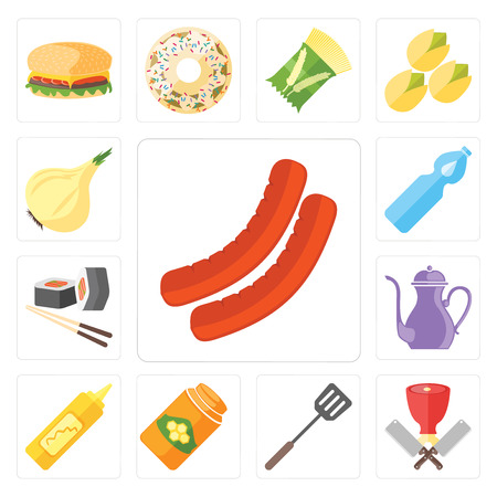 Set Of 13 simple editable icons such as Sausage, Butcher, Spatula, Honey, Mustard, Teapot, Sushi, Water, Onion, web ui icon pack Illustration