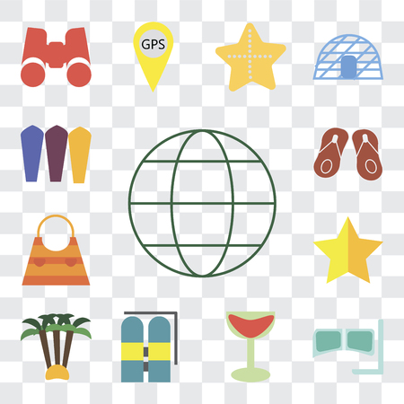 Set Of 13 transparent editable icons such as Globe, Snorkel, Cocktail, Aqualung, Palm tree, Star, Bag, Flip flops, Surfing, web ui icon pack, transparency set