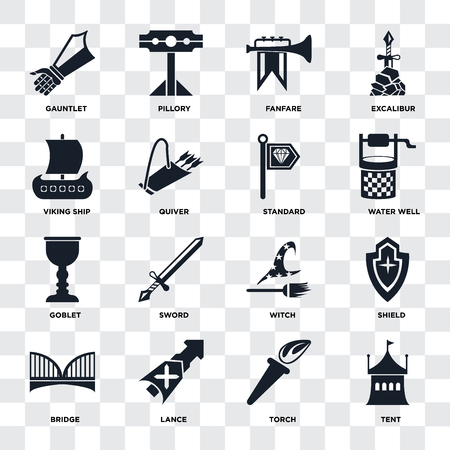 Set Of 16 icons such as Tent, Torch, Lance, Bridge, Shield, Gauntlet, Viking ship, Goblet, Standard on transparent background, pixel perfect
