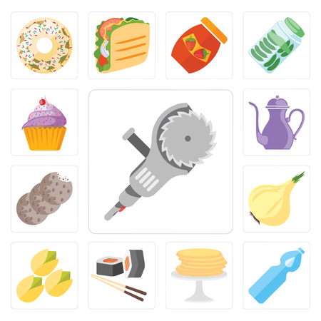 Set Of 13 simple editable icons such as Grinder, Water, Pancakes, Sushi, Pistachio, Onion, Cookies, Teapot, Cupcake, web ui icon pack