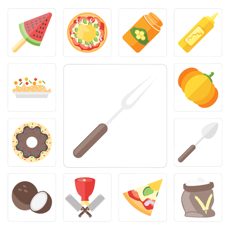 Set Of 13 simple editable icons such as Fork, Flour, Pizza, Butcher, Coconut, Spoon, Doughnut, Pumpkin, Risotto, web ui icon pack