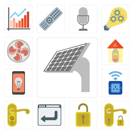 Set Of 13 simple editable icons such as Panel, Handle, Unlock, Browser, Doorknob, Socket, Mobile, Home, Fan, web ui icon pack Ilustração