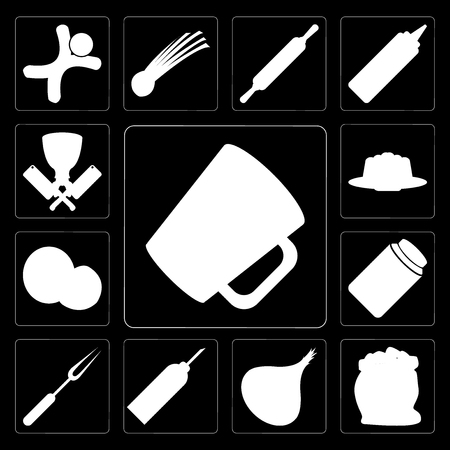 Set Of 13 simple editable icons such as Mug, Flour, Onion, Oil, Fork, Honey, Coconut, Pudding, Butcher on black background