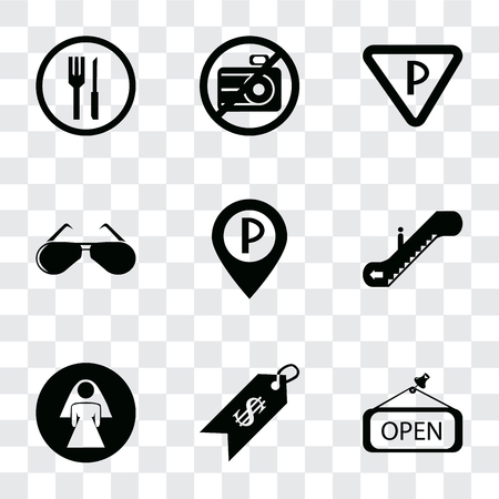 Set Of 9 simple transparency icons such as Open, Price, Restroom, Escalator, Parking, Glasses, No camera, Restaurant, can be used for mobile, pixel perfect vector icon pack on transparent