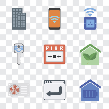 Set Of 9 simple transparency icons such as Smart home, Browser, Air conditioner, Fire alarm, key, Socket, Mobile, can be used for mobile, pixel perfect vector icon pack