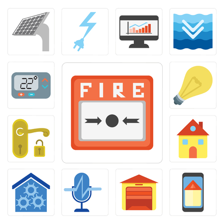 Set Of 13 simple editable icons such as Fire alarm, Smart home, Garage, Voice control, Home, Handle, Light, Thermostat, web ui icon pack