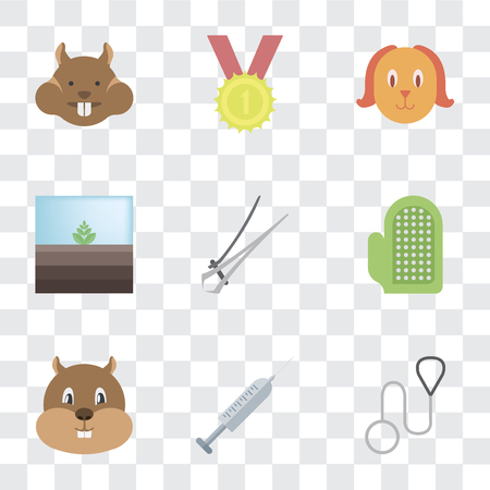 Set Of 9 simple transparency icons such as Leash, Injection, Hamster, Glove, Nail trimmer, Terrarium, Dog, Winner, can be used for mobile, pixel perfect vector icon pack on transparent