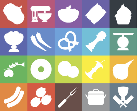 Set Of 20 icons such as Butcher, Pot, Fork, Pistachio, Sausage, Cupcake, Onion, Coconut, Olives, Pepper, Pumpkin, Scale, Pasta, web UI editable icon pack, pixel perfect Ilustracja