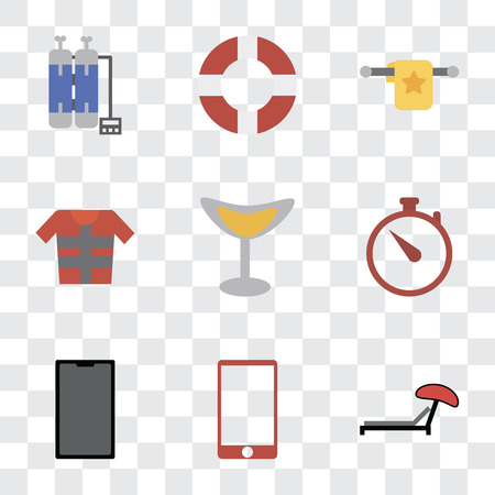 Set Of 9 simple transparency icons such as Sunbed, Phone, Time, Cocktail, Lifejacket, Towel, Lifebuoy, Oxygen tank, can be used for mobile, pixel perfect vector icon pack on transparent