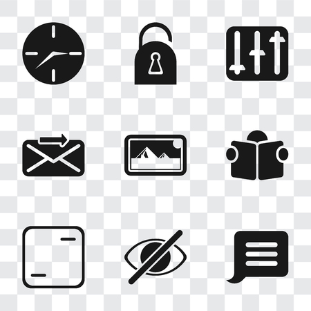 Set Of 9 simple transparency icons such as Notification, Hide, Frame, Reading, Photos, Send, Controls, Locked, Clock, can be used for mobile, pixel perfect vector icon pack on transparent background Illustration