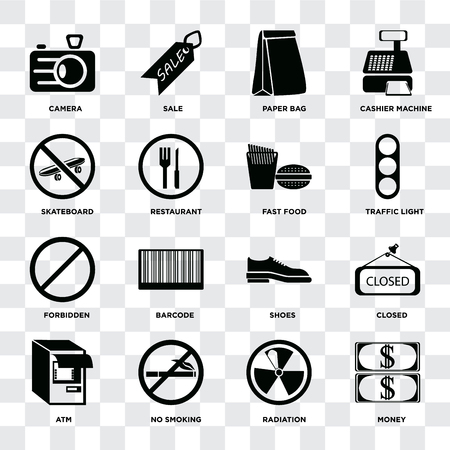 Set Of 16 icons such as Money, Radiation, No smoking, Atm, Closed, Camera, Skateboard, Forbidden, Fast food on transparent background, pixel perfect Çizim