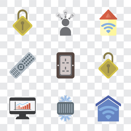 Set Of 9 simple transparency icons such as Smart home, Cool, Dashboard, Locked, Plug, Remote, Automation, Smart, Locking, can be used for mobile, pixel perfect vector icon pack on transparent