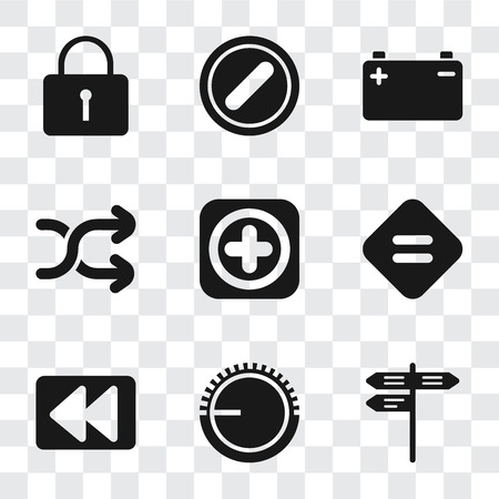Conjunto de 9 iconos de transparencia simple como Calle, Control de volumen, Rebobinar, Igual, Agregar, Aleatorio, Batería, Prohibido, Bloqueado, se puede utilizar para dispositivos móviles, paquete de iconos de vector perfecto de píxeles en transparente