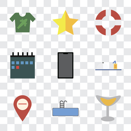Set Of 9 simple transparency icons such as Cocktail, Swimming pool, Map, Room service, Phone, Calendar, Lifebuoy, Star, Shirt, can be used for mobile, pixel perfect vector icon pack on transparent