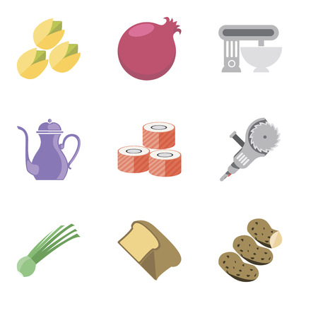 Set Of 9 simple editable icons such as Potatoes, Bread, Chives, Grinder, Sushi, Teapot, Mixer, Pomegranate, Pistachio, can be used for mobile, pixel perfect vector icon pack Stock Vector - 111925780