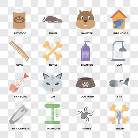 Set Of 16 icons such as Treats, Spider, Platform, Nail clippers, Fish, Pet food, Comb, Fish bone, Shampoo on transparent background, pixel perfect
