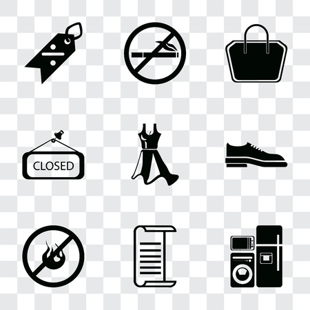 Set Of 9 simple transparency icons such as Electrical appliances, List, No fire, Shoes, Dress, Closed, Tote bag, smoking, Discount, can be used for mobile, pixel perfect vector icon pack on Ilustração