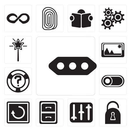 Set Of 13 simple editable icons such as More, Locked, Controls, Archive, Restart, Switch, Help, Picture, Magic wand, web ui icon pack Stock Vector - 111925784
