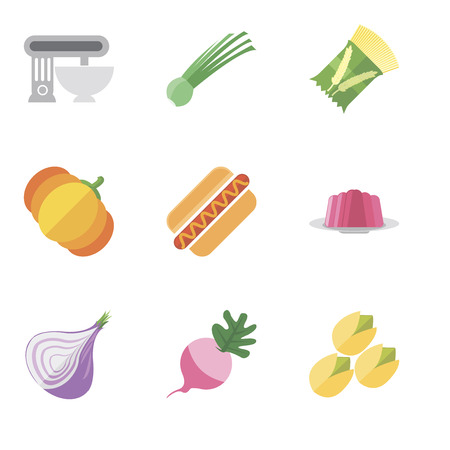 Set Of 9 simple editable icons such as Pistachio, Radish, Onion, Jelly, Hot dog, Pumpkin, Pasta, Chives, Mixer, can be used for mobile, pixel perfect vector icon pack