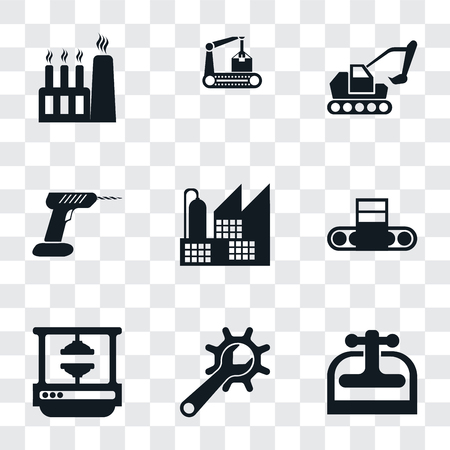 Set Of 9 simple transparency icons such as Machine press, Maintenance, Conveyor, Factory, Drill, Excavator, can be used for mobile, pixel perfect vector icon pack on Stock Illustratie