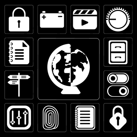 Set Of 13 simple editable icons such as Worldwide, Lock, Note, Fingerprint, Controls, Switch, Street, Archive, Notepad on black background