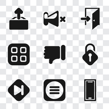 Set Of 9 simple transparency icons such as Smartphone, Menu, Skip, Unlocked, Dislike, Exit, Mute, Upload, can be used for mobile, pixel perfect vector icon pack on transparent background Stock Vector - 111925790