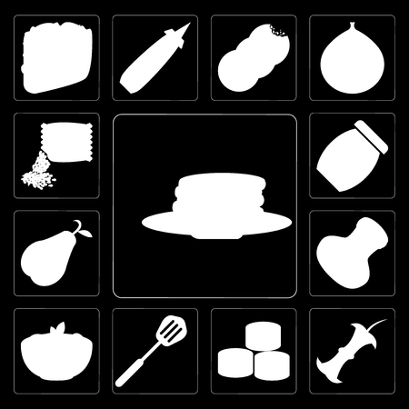 Set Of 13 simple editable icons such as Pancakes, Apple, Sushi, Spatula, Pasta, Salt, Pear, Jam, Seeds on black background