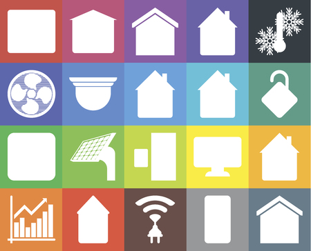 Set Of 20 simple editable icons such as Smart home, Locked, Temperature, Home, Chart, Garage, Dashboard, Fan, web UI icon pack, pixel perfect Ilustração