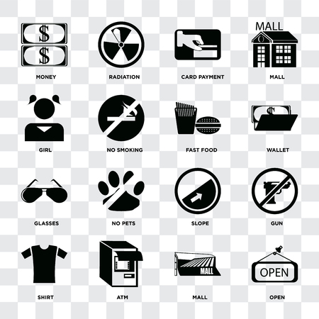 Set Of 16 icons such as Open, Mall, Atm, Shirt, Gun, Money, Girl, Glasses, Fast food on transparent background, pixel perfect Illustration