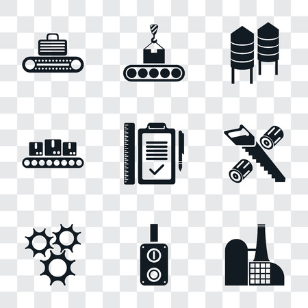 Set Of 9 simple transparency icons such as Factory, Switch, Cogwheel, Wood cutting, Plan, Conveyor, Silo, can be used for mobile, pixel perfect vector icon pack on transparent Ilustrace