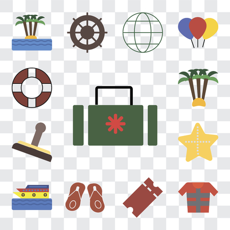 Set Of 13 transparent editable icons such as Suitcase, Lifejacket, Tickets, Flip flops, Cruise, Starfish, Stamp, Palm tree, Lifebuoy, web ui icon pack, transparency set Illustration