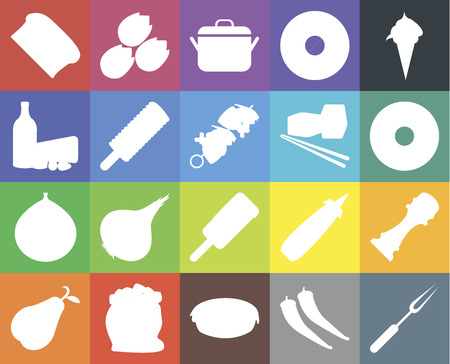 Set Of 20 icons such as Fork, Pepper, Pie, Flour, Pear, Ice cream, Fig, Sushi, Bread, Doughnut, Pot, web UI editable icon pack, pixel perfect Иллюстрация