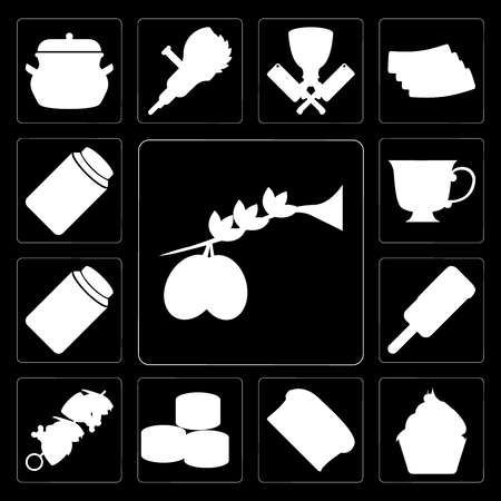Set Of 13 simple editable icons such as Olives, Cupcake, Bread, Sushi, Kebab, Ice cream, Honey, Tea, Pickles on black background Illustration