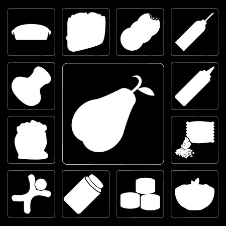 Set Of 13 simple editable icons such as Pear, Pasta, Sushi, Honey, Gingerbread, Seeds, Flour, Mustard, Salt on black background