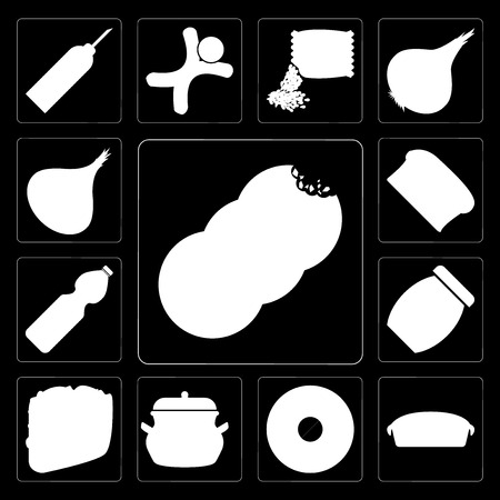 Set Of 13 simple editable icons such as Cookies, Pie, Doughnut, Pot, Taco, Jam, Water, Bread, Onion on black background Illustration