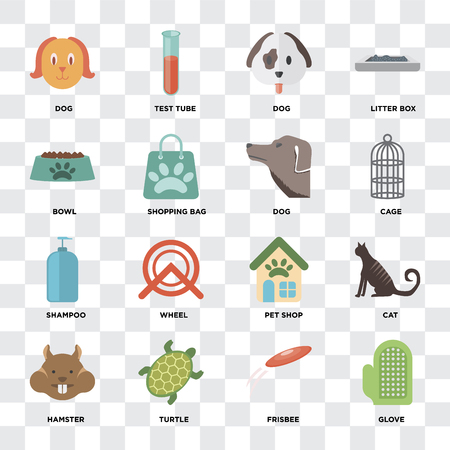Set Of 16 icons such as Glove, Frisbee, Turtle, Hamster, Cat, Dog, Bowl, Shampoo on transparent background, pixel perfect Standard-Bild - 111925809